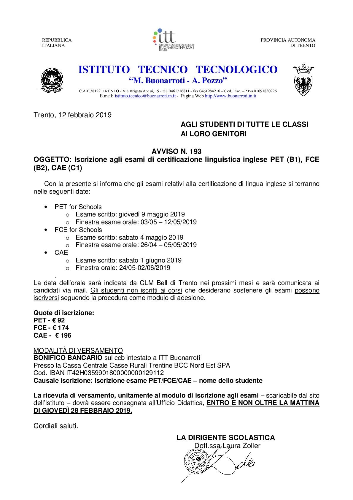 Itt Buonarroti Iscrizione Agli Esami Di Certificazione